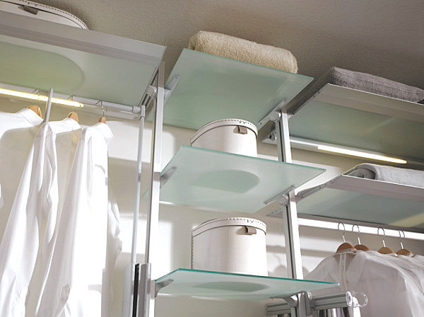 Frosted glass shelves in an organized closet