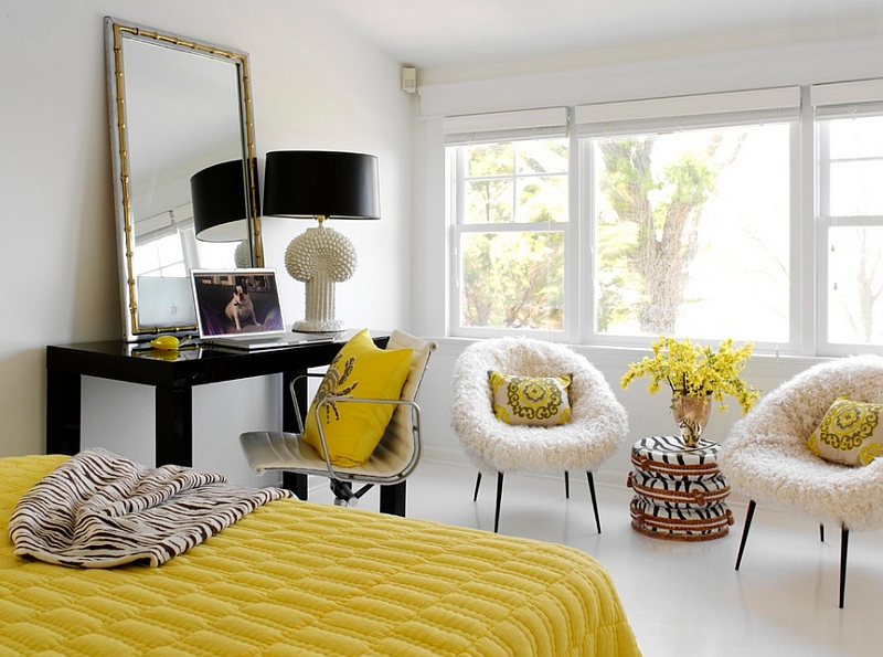 Fun yellow accents in the black and white bedroom