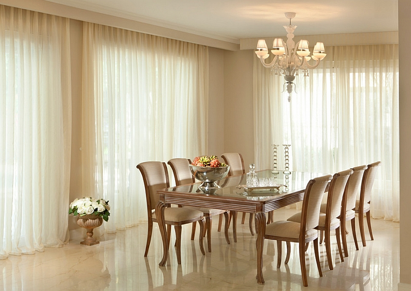 Give the dining room a warm, dreamy ambiance with the right drapes