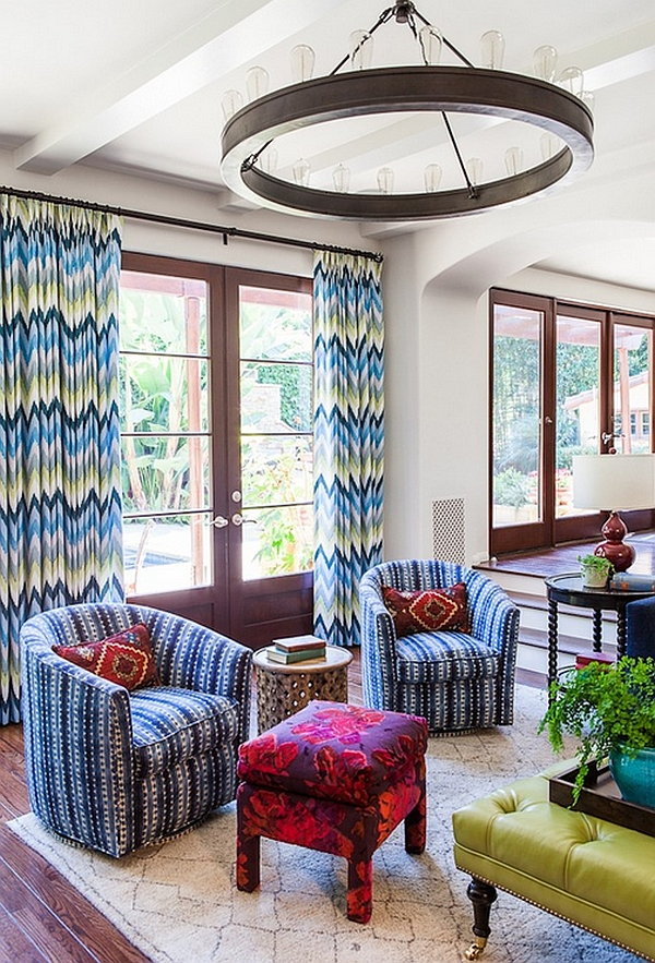patterned curtains for living room. View in gallery Give your living room some spring freshness Chevron Pattern Ideas For Living Rooms  Rugs Drapes and Accent