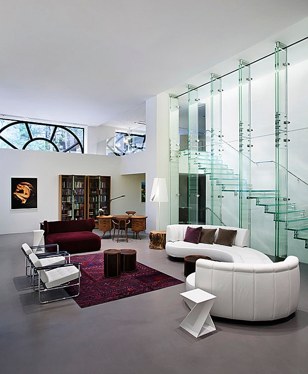 Glass partitions and staircase in the New York Living Room