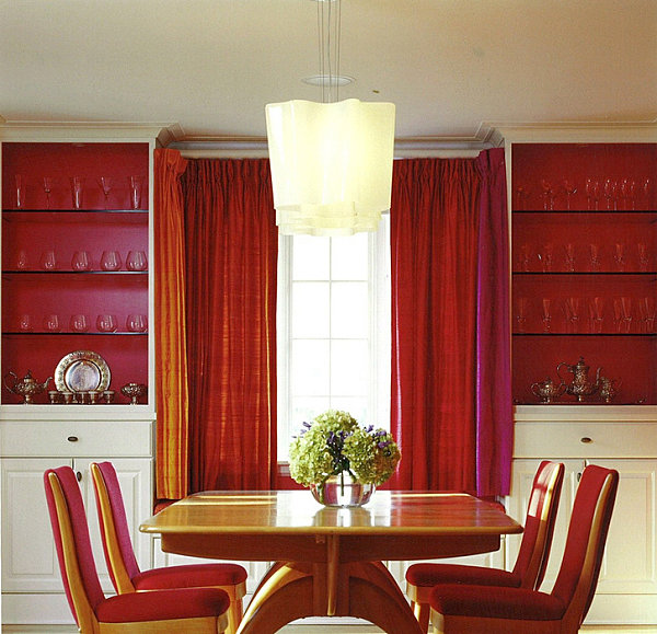 Glass shelves in a colorful dining room