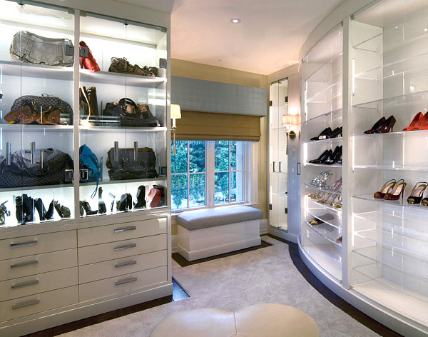 Glass shelving in a contemporary closet