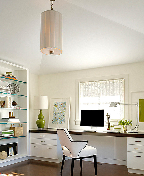 Glass shelving in a contemporary home office