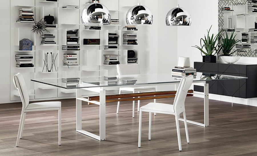 Glass top dining table with white lacquered steel legs
