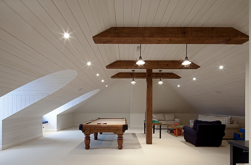 Gorgeous attic game room in white How To Transform Your Attic Into A Fun Game Room