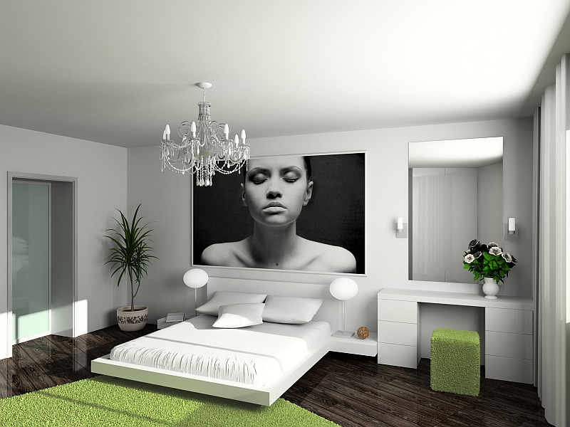 Modern Bedroom Green bold black and white bedrooms with bright pops of color