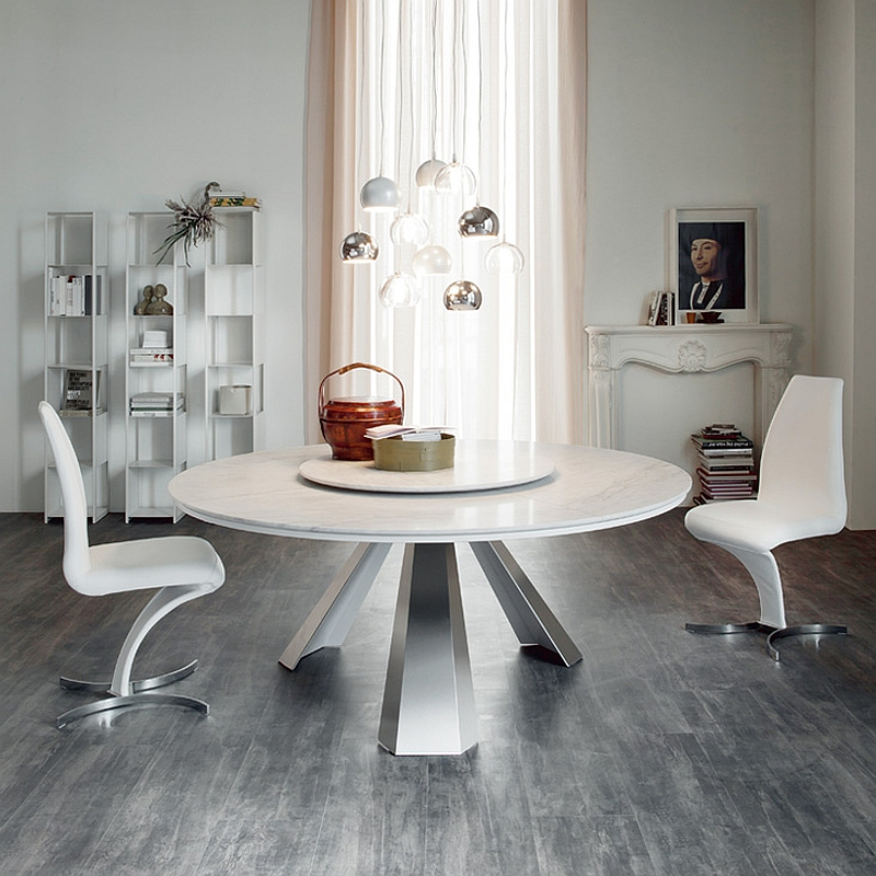 View In Gallery Gorgeous Round Dining Table In White