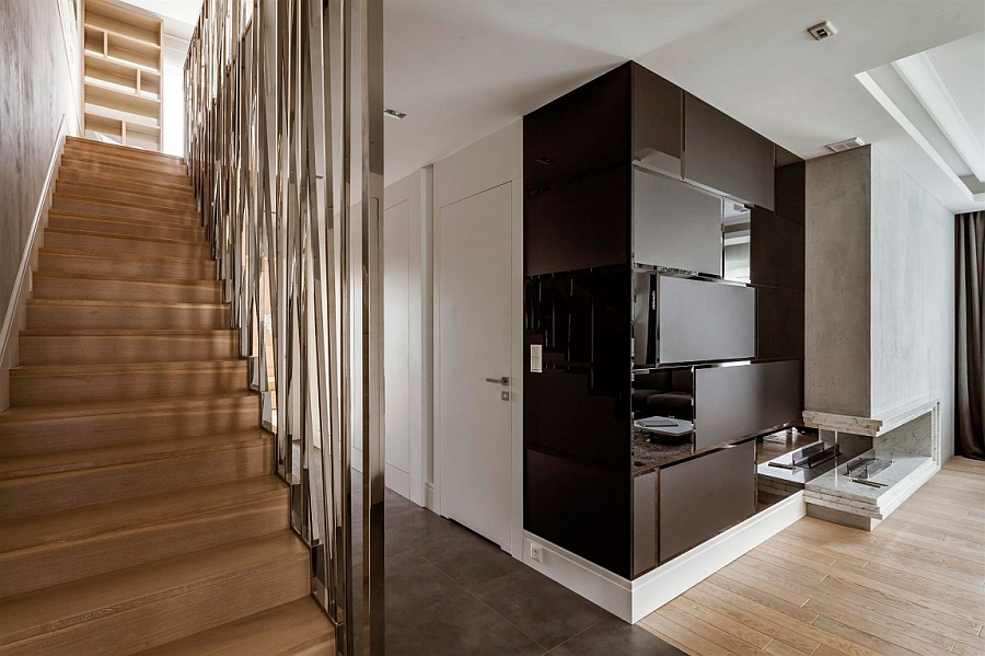 Gorgeous staircase of duplex apartment leading to the private quarters