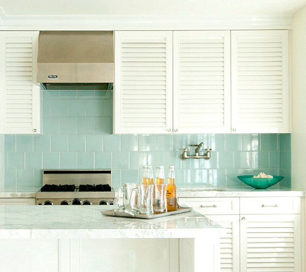 Green Color Glass Tile In The Kitchen