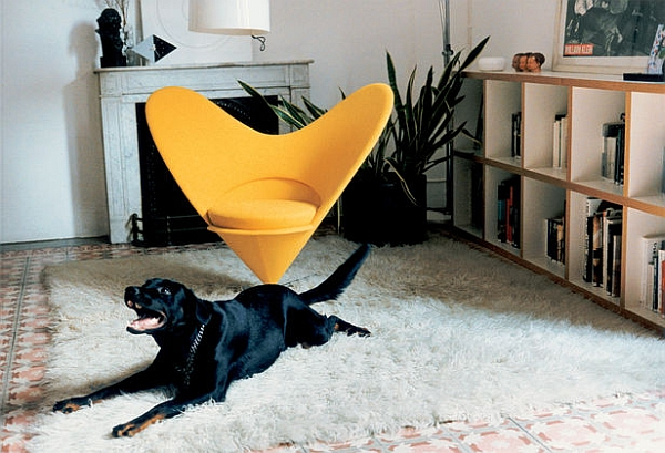 Heart Cone Chair in Yellow in the Living Room