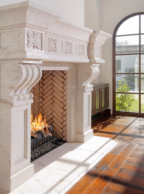 Herringbone pattern on the inside of the fireplace
