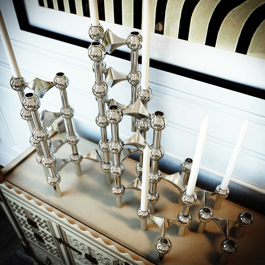 Hint of metallic brilliance with candle holders