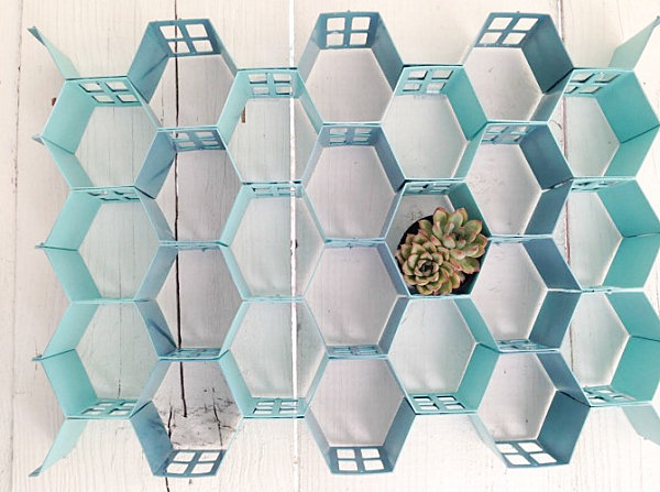 Honeycomb metal wall art