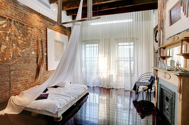 view in gallery industrial bedroom plays with multiple textures - Multi Canopy Decor