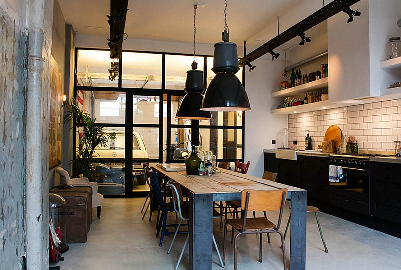 Industrial lighting for an eclectic kitchen