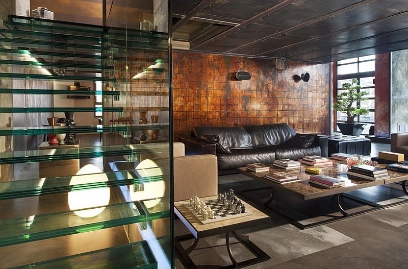 Industrial living room with a cool glass stairway