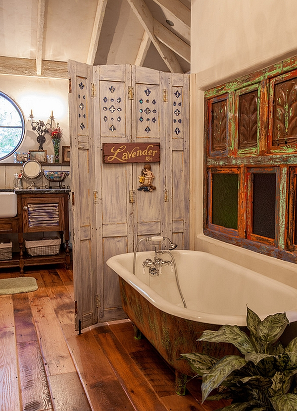 Iron reactive paint gives this bathtub a natural, rusted look!