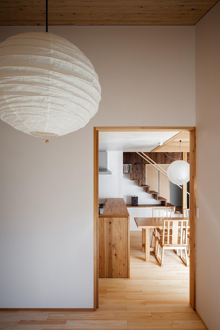 Japanese paper lantern style lighting for the corridor