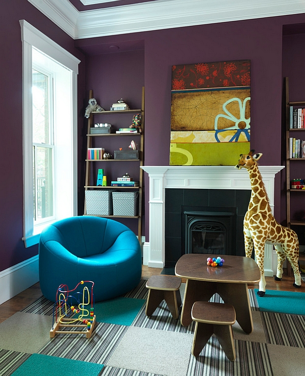 Kids' playroom with the Pumpkin Chair in bright blue