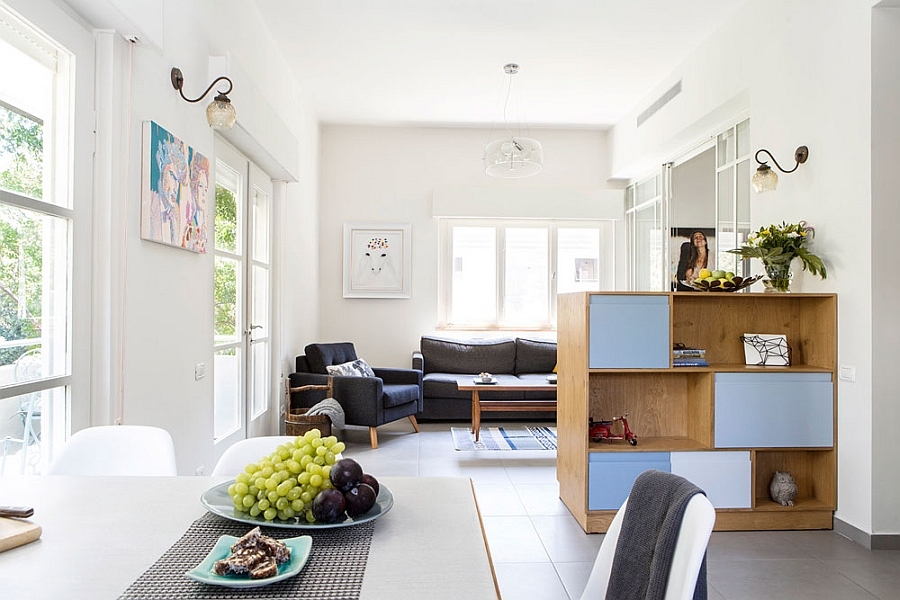 Kitchen dining and living room of the small apartment Small Tel Aviv Apartment Gets A Gorgeous Makeover And A Versatile Interior