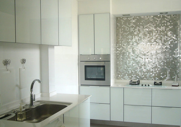 View In Gallery Kitchen With Penny Stainless Steel Tile