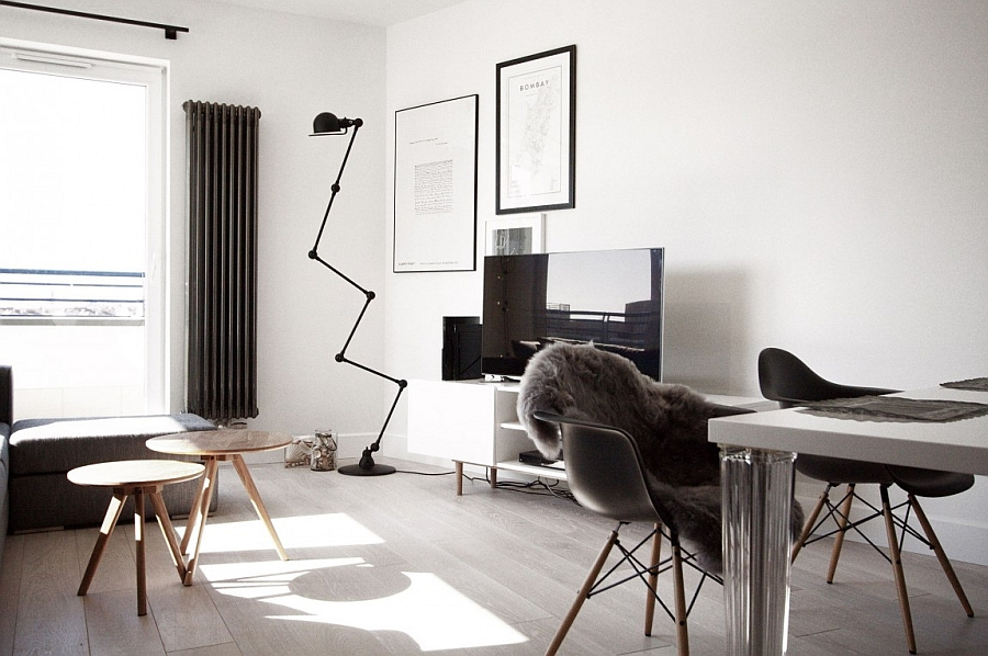 Large floor lamp and plush decor in the Scandinavian style apartment