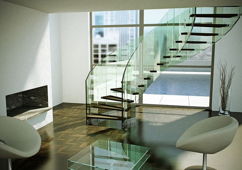Let the glassy staircase steal the show!