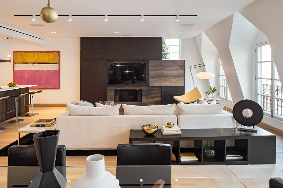Living area with gorgeous entertainment unit Exclusive New York City Penthouse Blends Tribeca Style With Modern Living