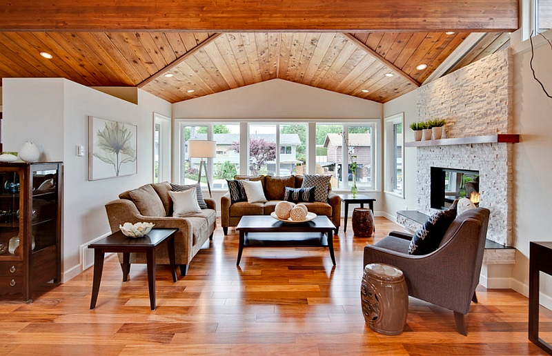 Living room with vaulted ceiling and elegant decor