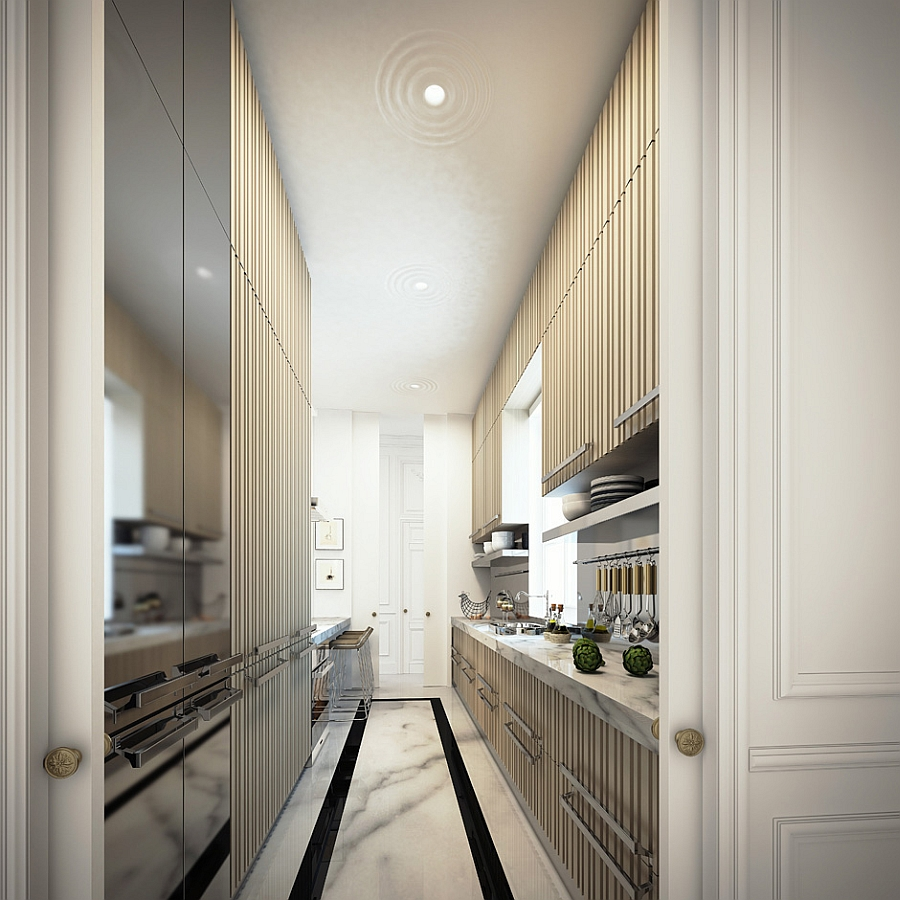 Long, narrow kitchen that is both stylish and ergonomic