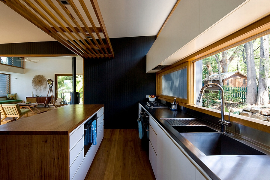 Lovely use of colors and textures in the modern kitchen