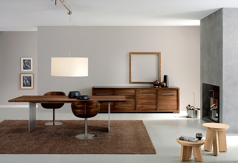 View In Gallery Lovely Wooden Tones Combined With Exposed Concrete This Minimalist Dining Room