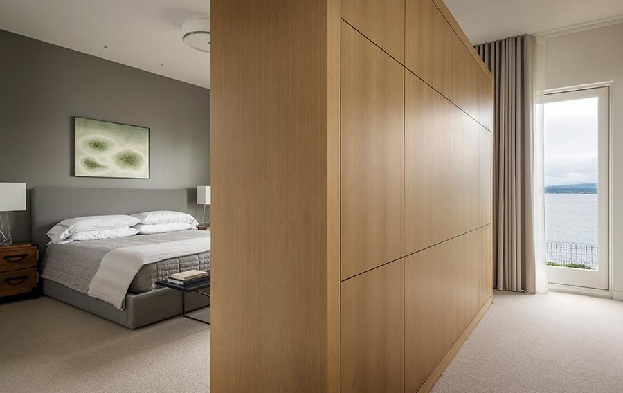 Luxurious master bedroom in grey