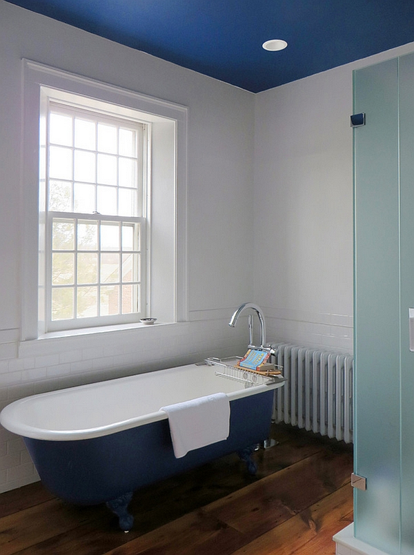 Master bathroom in blue and white with painted ceiling and bathtub
