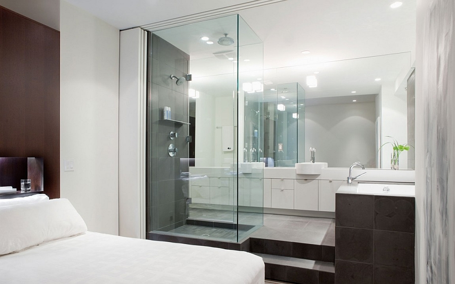 Bright and beautiful urban renovation unites two for Master ensuite bathroom ideas