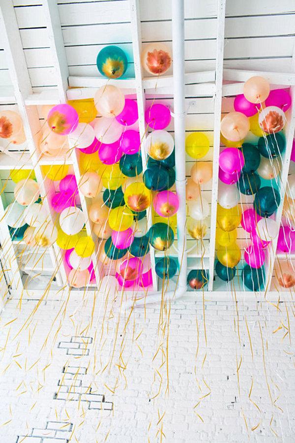 Metallic paint can embellish colorful balloons