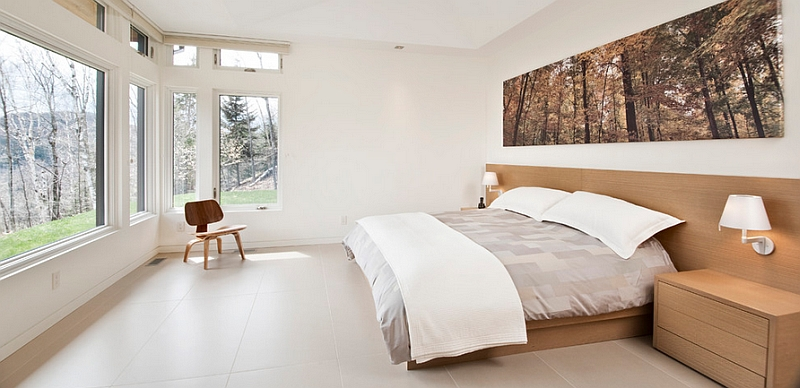Minimal decor and uncluttered interior create a serene bedroom
