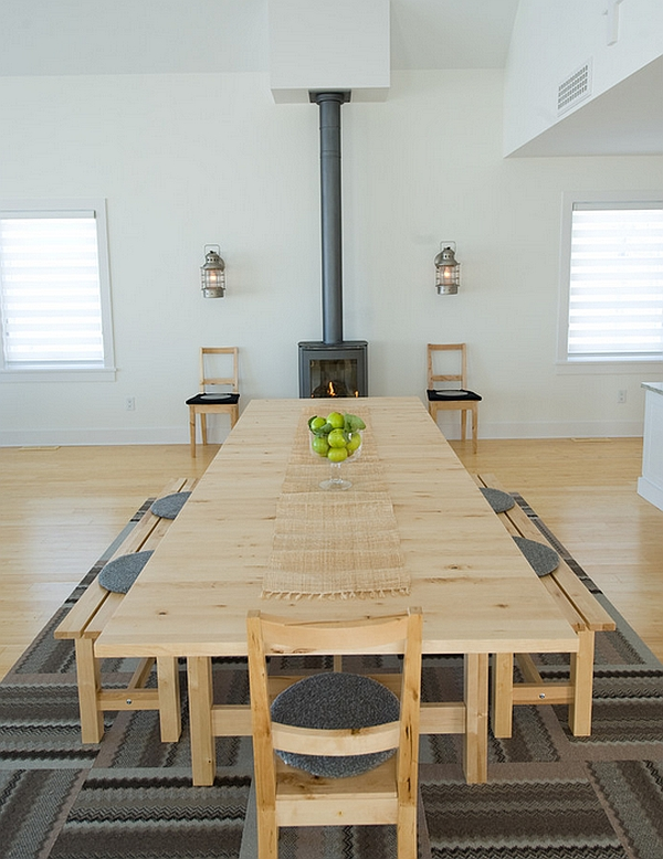Minimal dining room with cool Scandinavian overtones