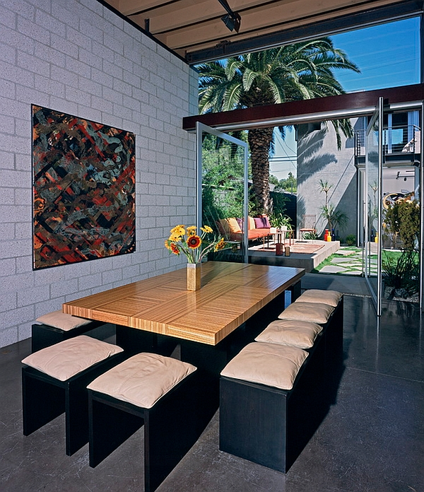 Minimal dining room with industrial touches