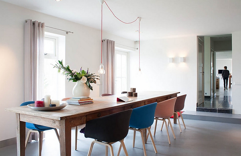 Minimal style combined with farmhouse elements to create a cool dining room
