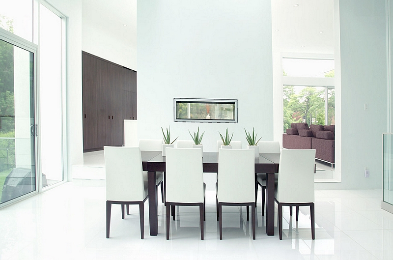 View In Gallery Modern Minimalist Dining Room In White