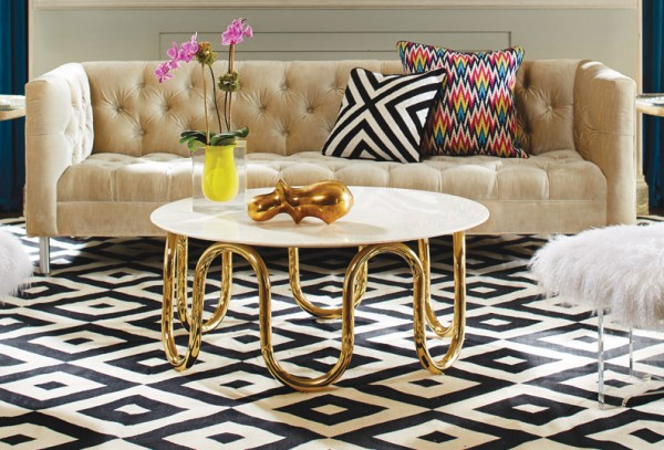 Modern coffee table with brass tubing