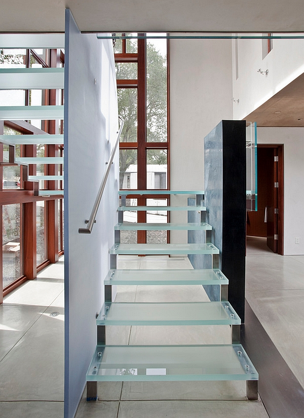 Modern glass staircases allow unhindered flow of light