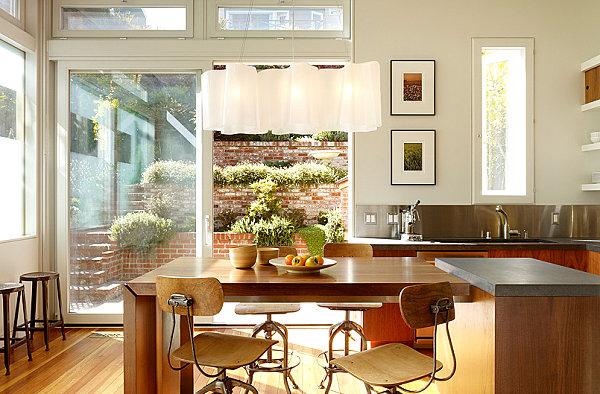Modern kitchen with a stainless steel backsplash