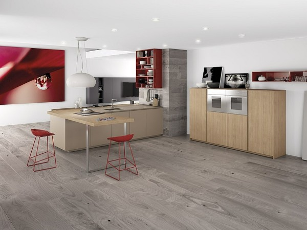 2017 dynamic minimalist kitchen sizzles with flaming red accents