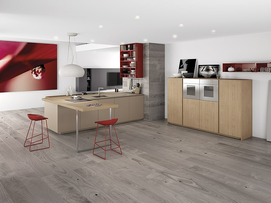 Modern minimalist kitchen with bright pops of red