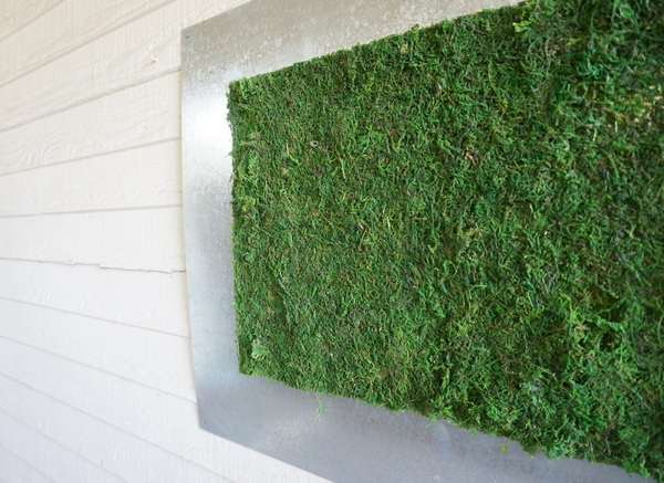 Modern moss and metal DIY outdoor wall art