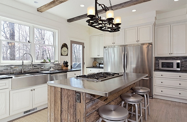 Modern rustic kitchen with stainless steel countertop
