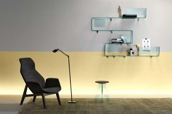 Modern wall-mounted glass shelving